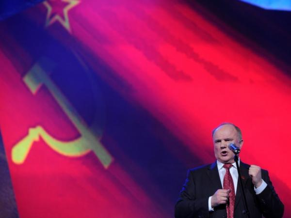 Russian presidential candidate and Communist Party leader Gennady Zyuganov addresses his supporters while campaigning in Moscow, Feb. 29. He is a three-time loser in the presidential race who is seen as a hidebound traditionalist.