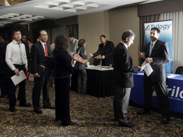 Job seekers in Boston in February, 2012.