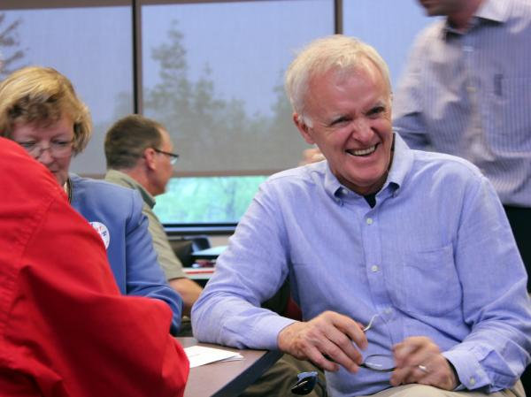 Former Nebraska Sen. Bob Kerrey campaigns at a Democratic caucus site on April 14 at Bellevue University in Bellevue, Neb. Kerrey has decided to run again for his old seat in the U.S. Senate.