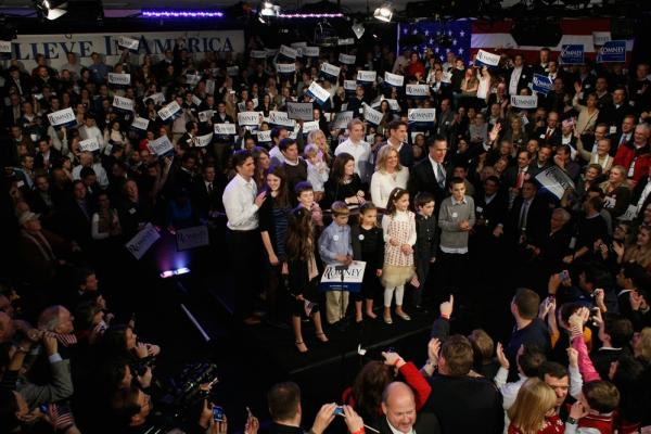 Romney and his family celebrate his primary win.