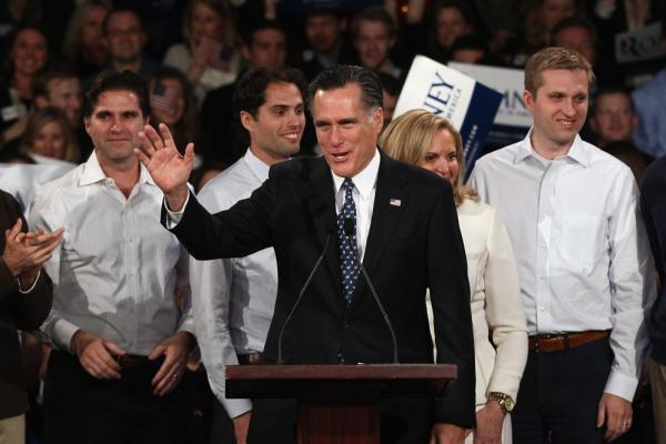 Romney devoted his victory speech to attacks on President Obama.