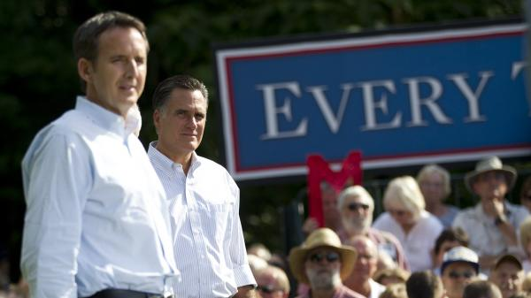 Republican presidential candidate Mitt Romney stands with former Minnesota Gov. Tim Pawlenty during a campaign stop Saturday in Cornwall, Pa.
