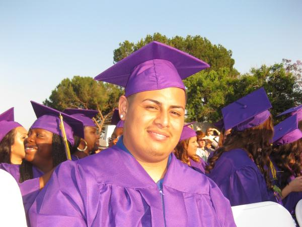 Anthony Gonzales graduated on Tuesday from Learning Works charter school in Pasadena, Calif.