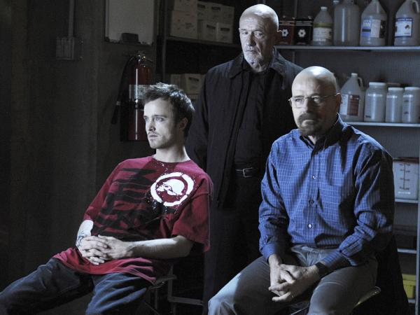 Jesse Pinkman (Aaron Paul), Mike (Jonathan Banks) and Walter White (Bryan Cranston) on Breaking Bad.