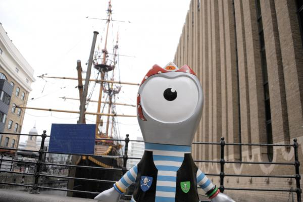 A statue of Wenlock, one of the Olympic mascots, stands near the Golden Hinde boat in Southwark. Statues of the mascots can be seen around London.