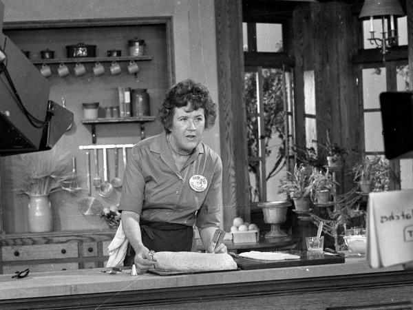 Julia Child prepares a French delicacy in her cooking studio on Nov. 24, 1970.