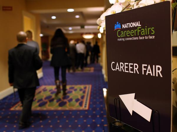 A sign pointing the way to a career fair in San Mateo, Calif., last month.