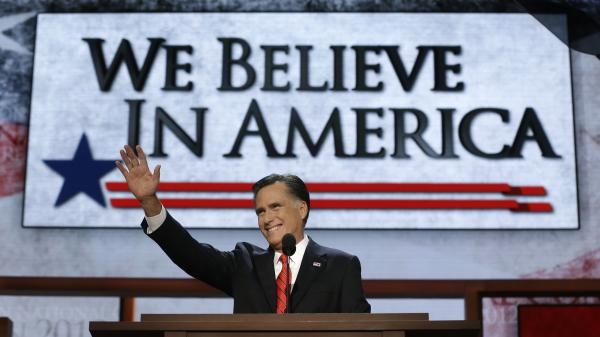 Mitt Romney accepts the Republican nomination for president at the party's convention Thursday.