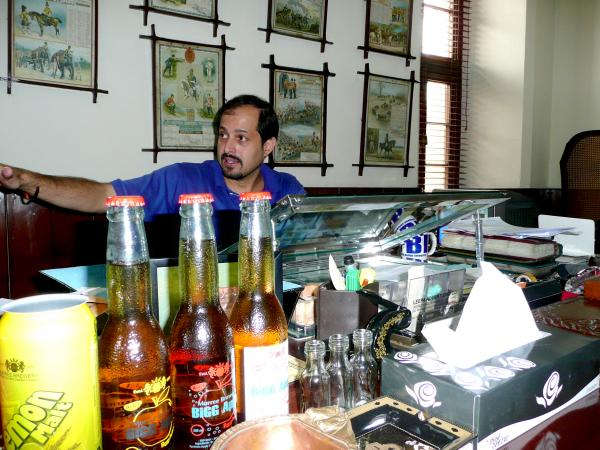 Isphanyar Bhandara, the head of Pakistan's only brewery, Murree Brewery, sits at his grandfather's desk at the headquarters in Rawalpindi, near Islamabad. Bhandara's grandfather was a director at the brewery when Pakistan gained independence in 1947, and he bought a controlling stake in the company. The brewery has been run by the Bhandara family ever since.