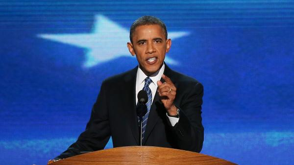 President Obama speaks Thursday at the Democratic National Convention.
