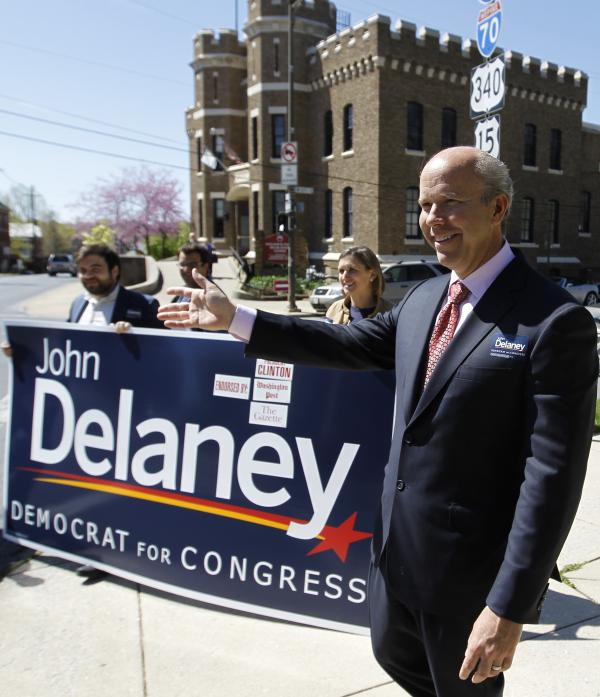 John Delaney campaigns before the Democratic primary on April 3.