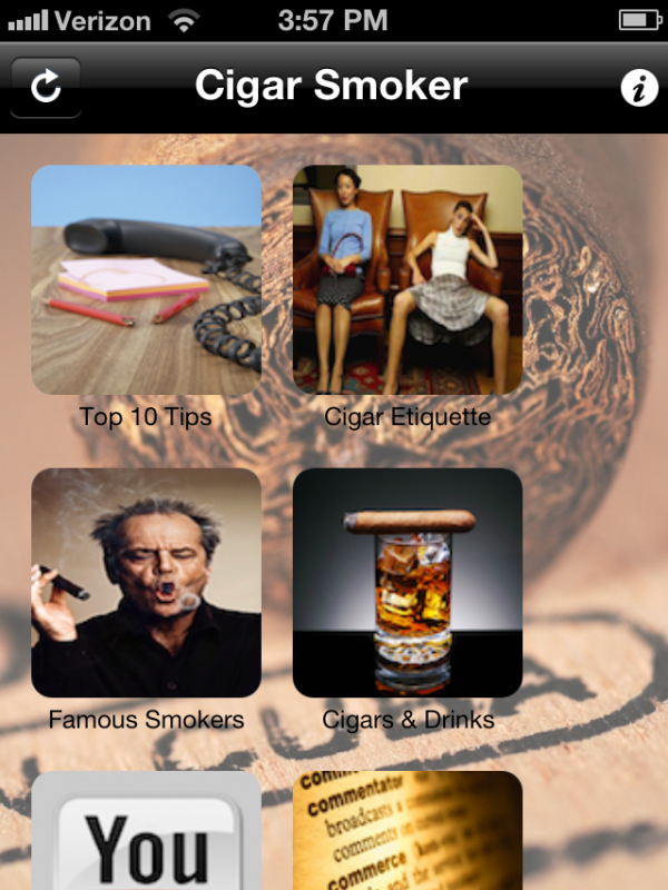 The iPhone app Cigar Smoker has monthly giveaways, contests and instructions for how to start smoking.
