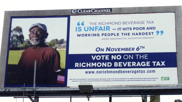 A sign protesting a beverage tax in Richmond, Calif. The U.S. soft drink industry has fought proposals that would put a tax on sugar sweetened beverages like sodas and energy drinks.