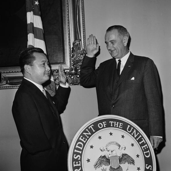 In this Jan. 9, 1963, file photo, Daniel Inouye takes the Oath of Office as Democratic senator from Hawaii from Vice President Lyndon Johnson in a re-enactment of the swearing in ceremony in Washington, D.C.