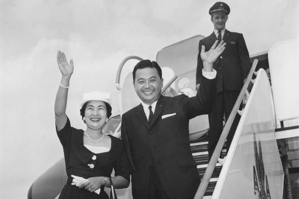 U.S. Rep.-elect Daniel K. Inouye of Hawaii and his wife, Margaret, wave as they arrive at Friendship Airport in Washington, D.C., Aug. 9, 1959.
