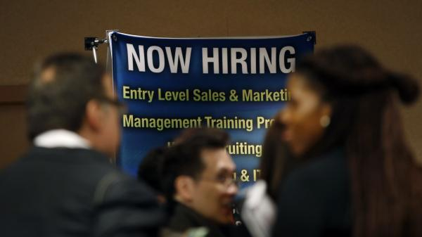 The scene at a career fair in New York City last fall.