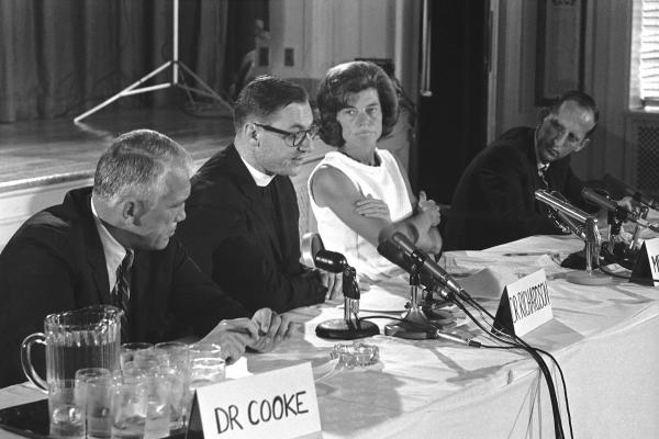 While the U.S. Supreme Court's <em>Roe v. Wade</em> decision of Jan. 22, 1973, is usually considered the start of the abortion debate, the move to relax state abortion laws began with medical and law professionals in the 1960s. Here, Eunice Kennedy Shriver and doctors from Johns Hopkins University and the Harvard Divinity School announce the International Conference on Abortion on Aug. 9, 1967.