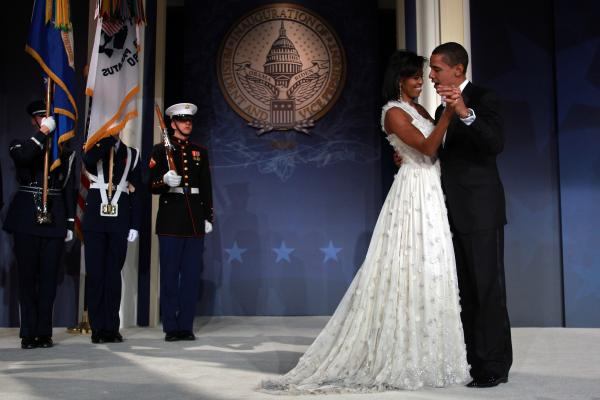 <strong>First dance:</strong> Newly sworn in President Obama and the first lady dance during the inaugural ball on Jan. 20, 2009, in Washington, D.C.