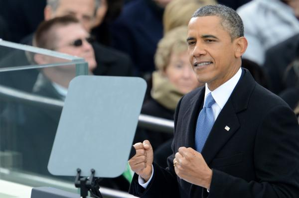 President Obama delivers his second inaugural address Monday in Washington.