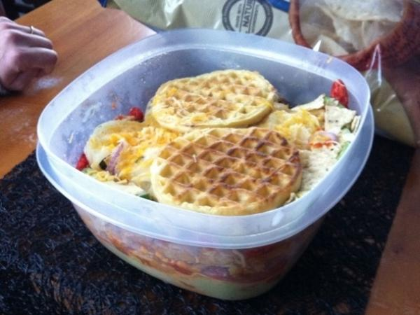 The waffle layer requires careful placement and suspension of disbelief.