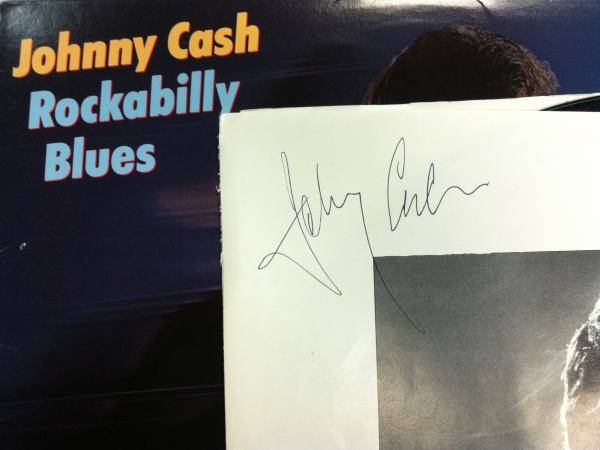 Gonyea's copy of Johnny Cash's <em>Rockabilly Blues</em>, signed by the man himself.