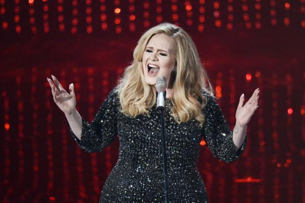 "Adele performs the theme song to ""Skyfall."""
