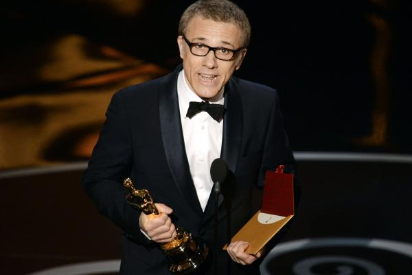 "Actor Christoph Waltz accepts the Oscar for best supporting actor for his role in ""Django Unchained."""