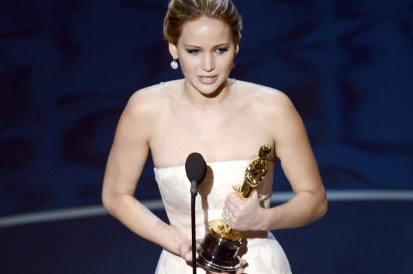 "Jennifer Lawrence accepts the Oscar for best actress for her performance in ""Silver Linings Playbook."""