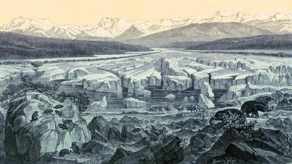 Scientists say they have put together a record of global temperatures dating back to the end of the last ice age, about 11,000 years ago. This historical artwork of the last ice age was made by Swiss geologist and naturalist Oswald Heer.
