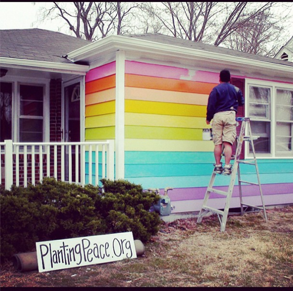 Planting Peace is painting the house across from the Westboro Baptist Church in Topeka with the colors of the gay pride rainbow.