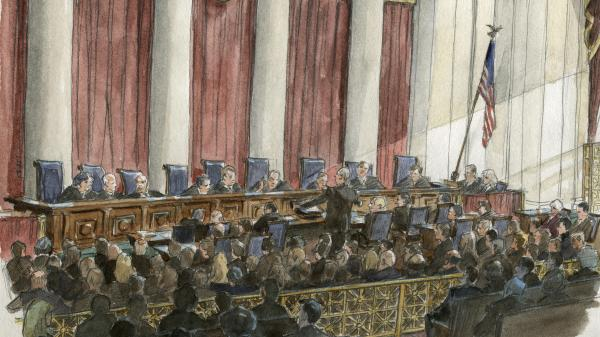 An artist's sketch of the scene inside the U.S. Supreme Court on Tuesday.