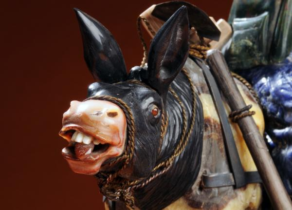 <em><em>Gold Prospectors</em></em> is the only sculpture with an American theme; it was completed during the 1981-1984 period. Here is a detail of the donkey's expressive face, braying his displeasure at the folly of his mining owners.