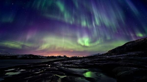 A photo of the Aurora borealis taken in Norway.