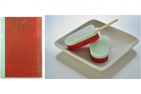 John Zurier's minimalist painting <em>Arabella</em> (2005) inspired these simple strawberry-and-mint popsicles.
