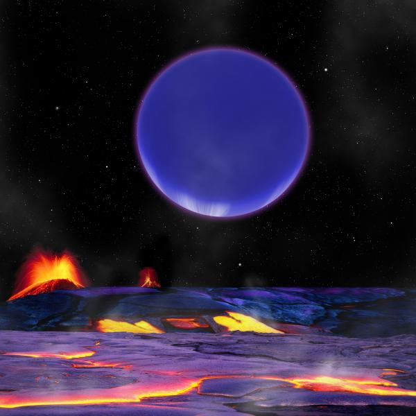 An illustration shows how the planet Kepler-36c might look from the surface of the neighboring Kepler-36b.