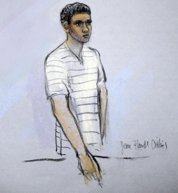 This courtroom sketch shows defendant Robel Phillipos appearing in front of Federal Magistrate Marianne Bowler at the Moakley Federal Courthouse in Boston, Mass., on May 1.