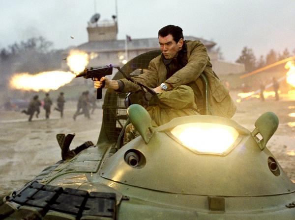 Brosnan's James Bond negotiates a high-speed hovercraft chase in <em>Die Another Day,</em> one of the three 007 films under the actor's belt.