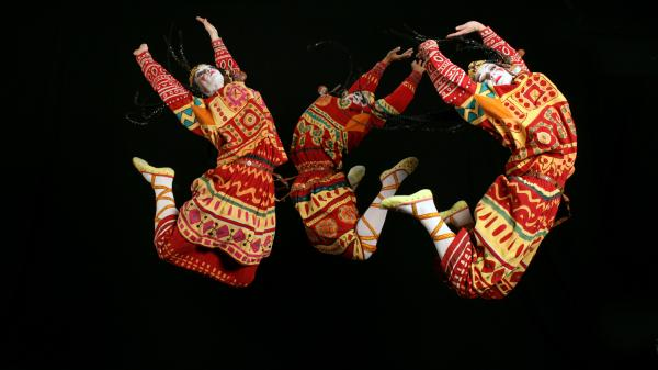 An image from the 2013 production of <em>Le Sacre du Printemps</em> by the Joffrey Ballet, Chicago, reflects the hard jumps and stamps of Vaslav Nijinsky's original choreography.