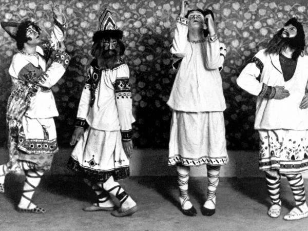 Dancers in folkloric costumes, moving unpredictably to pounding chords, characterized the 1913 <em>Rite of Spring</em> premiere at Paris' Champs Elysées Theater.