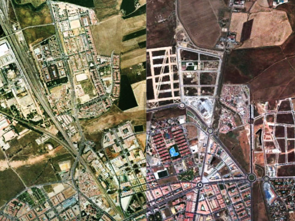 A screengrab of a satellite image of Cordoba, Spain, in 2004 (left) and 2011.