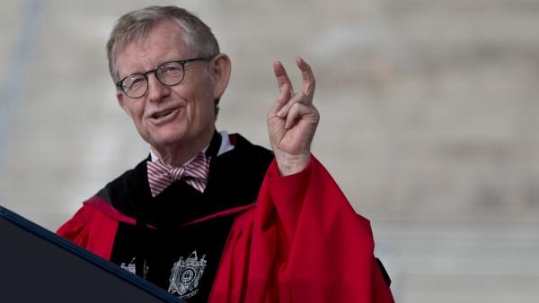 Ohio State president Gordon Gee, seen here at last month's spring commencement, has announced his retirement. Gee came under fire for his remarks on Catholics, other schools, rival athletic conferences, and coaches.