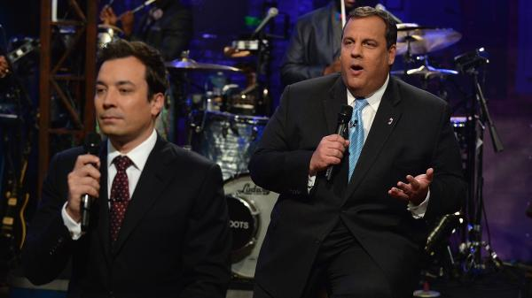 Jimmy Fallon and New Jersey Governor Chris Christie during their slow jap on <em>Late Night With Jimmy Fallon</em>.