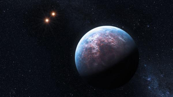 An artist's impression of one of the super-Earth's surrounding the star Gliese 667 about 22 light years from Earth.