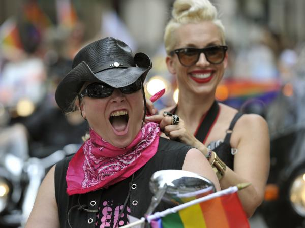 Mayor Michael Bloomberg joined hundreds of bikers whose motorcycles roared to life at noon to kick off the celebration, a colorful cavalcade of activists and others who marched down Fifth Avenue.