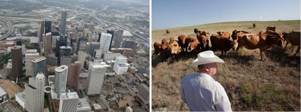 Texas is beginning to trend urban (downtown Houston, left), which could be good news for Democrats, who tend not to do well in rural areas like Wise County near Boyd (right).