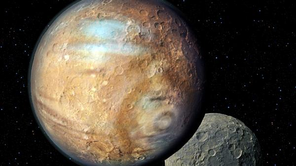 This artist's illustration shows Pluto and one of its moons, Charon. A global consortium of astronomers sets the rules for naming things like asteroids and moons throughout the solar system.