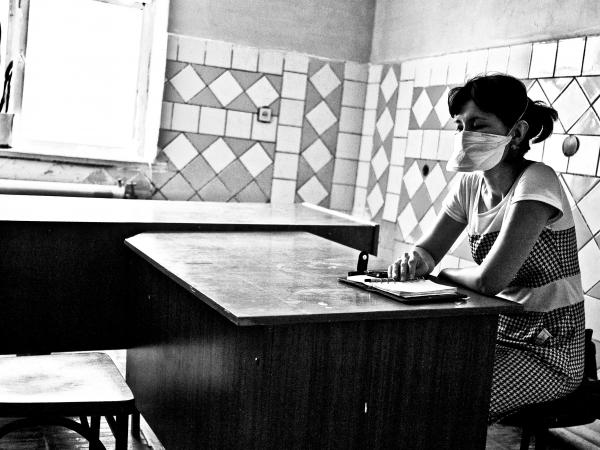 A Doctors Without Borders support counselor waits for MDR-TB patients at a clinic in Nukus, Uzbekistan.