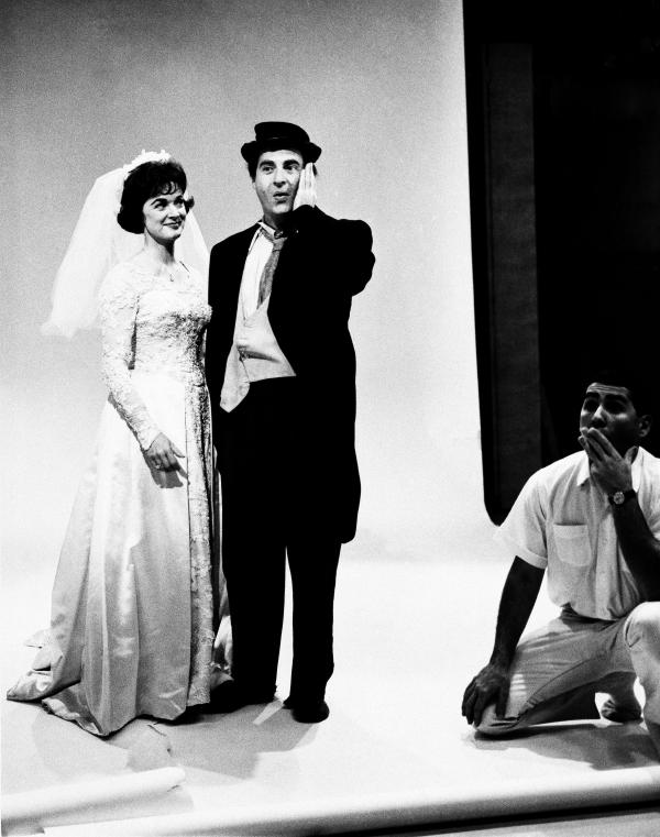 Gisele MacKenzie plays bride to Sid Caesar's German professor character, as Greg Garrison directs the scene, Nov. 21, 1963.