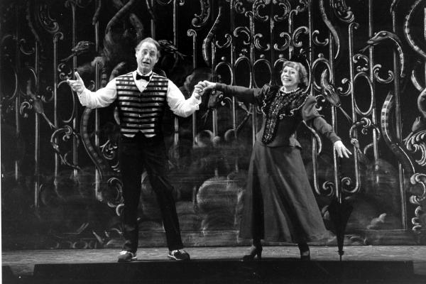 Caesar and Imogene Coca practice their soft shoe routine during a dress rehearsal in Boston in 1982 for the Boston Opera Company's production <em>Orpheus.</em> The pair had worked together since the 1950s on <em>Your Show of Shows.</em>