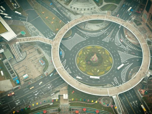 Asians are bad drivers but can navigate roundabouts like this one in Shanghai, eh?